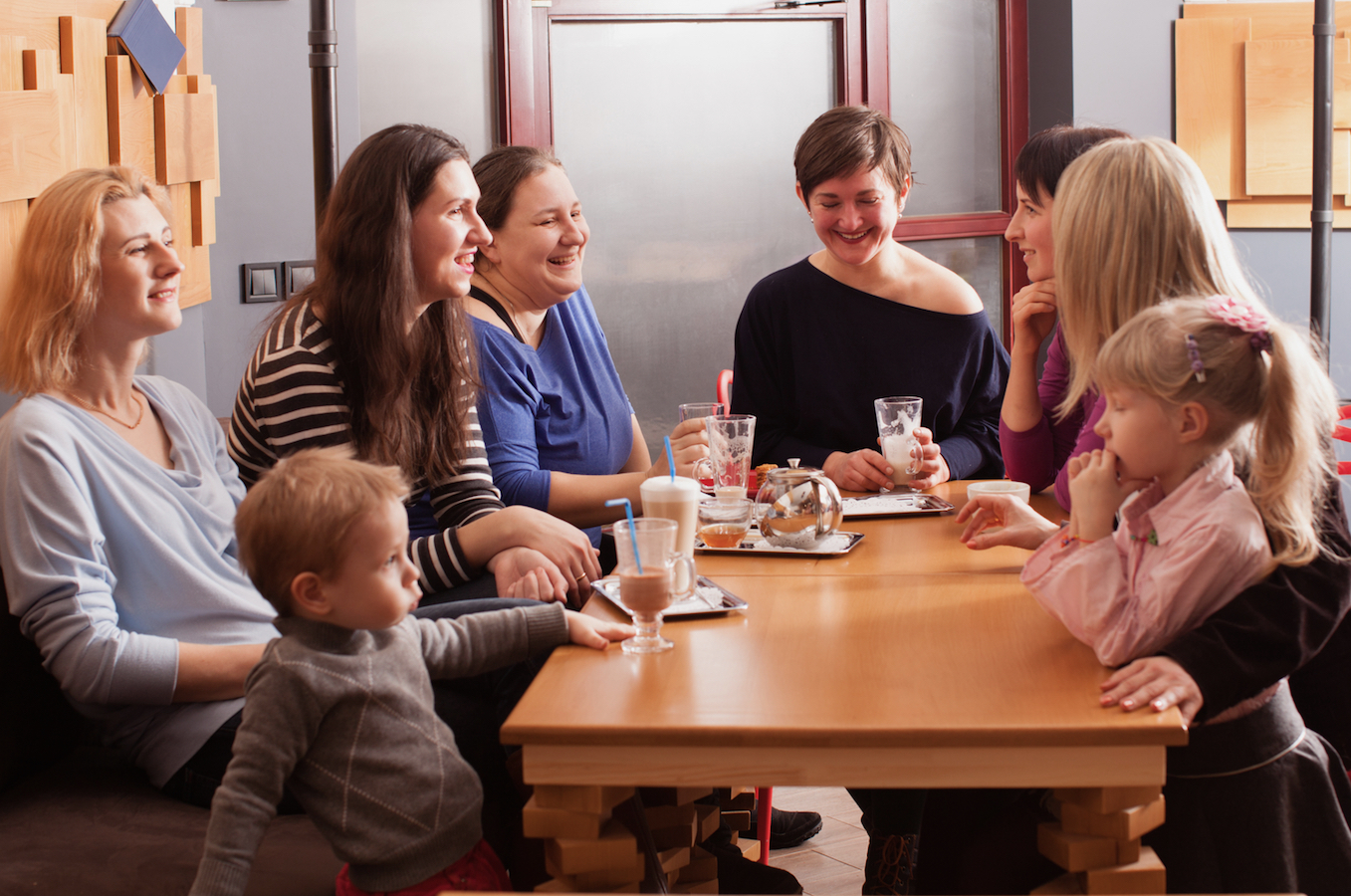 Group of stay at home mums meeting for a coffee midweek